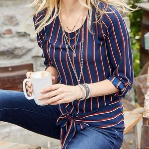Maurices Navy striped banded bottom tie knot top